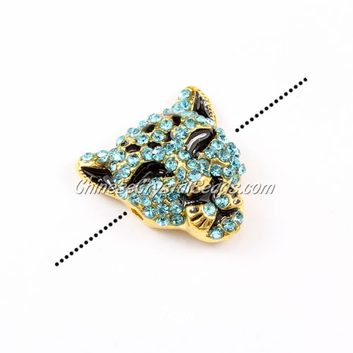 Pave accessories, leopard head, 22x22mm, hole 2mm, gold-plated, aqua, Sold 1pcs