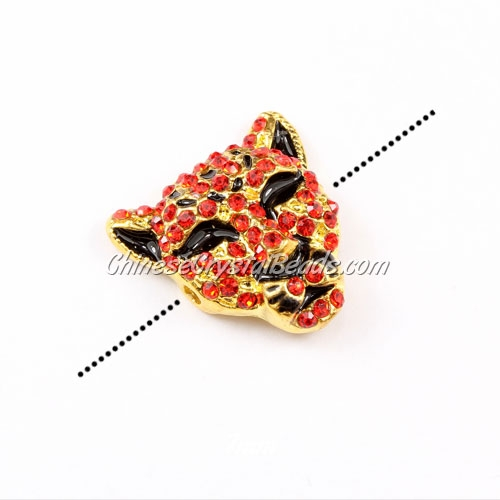 Pave accessories, leopard head, 22x22mm, hole 2mm, gold-plated, red, Sold 1pcs