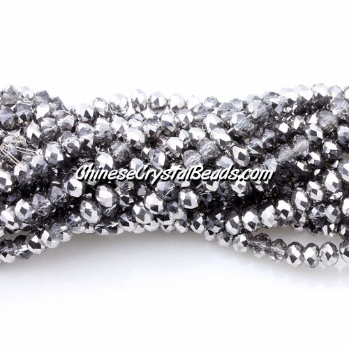 Chinese Crystal Long Rondelle Strand, 3x4mm, dark half silver, about 150 beads