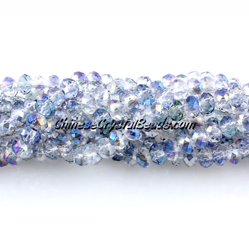 Chinese Crystal Long Rondelle Strand, 3x4mm, half blue light, about 150  beads