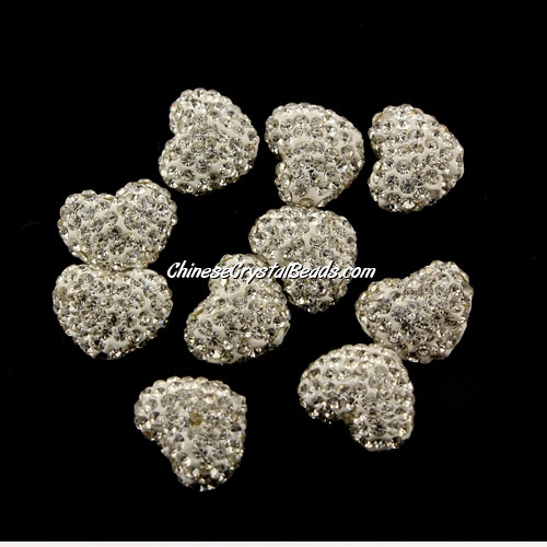 Pave heart beads, clay, 13x15mm, 1.5mm hole, white, 1pcs