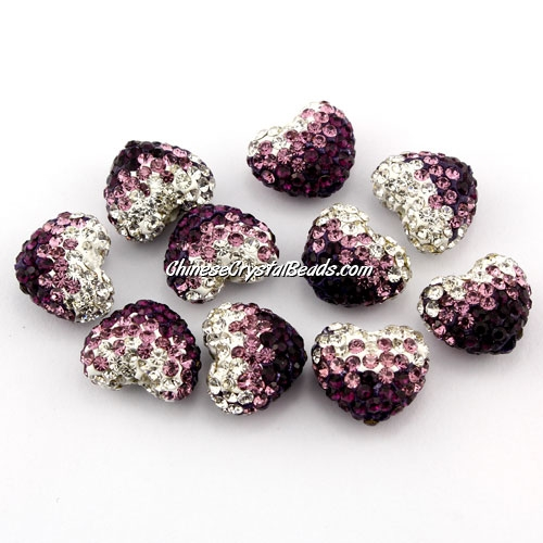 Pave heart beads, clay, 13x15mm, 1.5mm hole, violet gradient, 1pcs