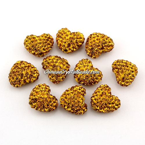 Pave heart beads, clay, 13x15mm, 1.5mm hole, amber, 1pcs