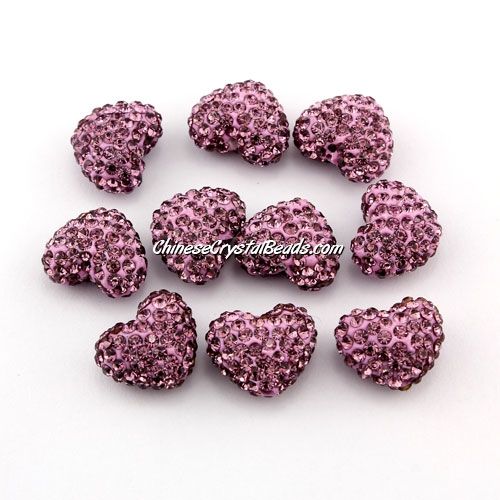 Pave heart beads, clay, 13x15mm, 1.5mm hole, amethyst, 1pcs