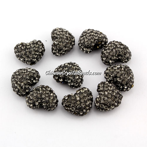 Pave heart beads, clay, 13x15mm, 1.5mm hole, gray, 1pcs