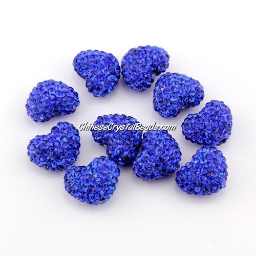 Pave heart beads, clay, 13x15mm, 1.5mm hole, sapphire, 1pcs
