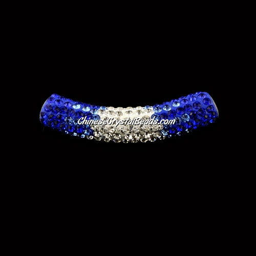 Pave Crystal Pave Tube Beads, 45mm, 4mm hole, sapphire gradient, sold 1pcs