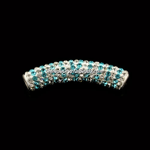 Pave Crystal Pave Tube Beads, 45mm, 4mm hole, aqua stripe, sold 1pcs