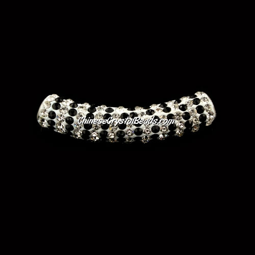 Pave Crystal Pave Tube Beads, 45mm, 4mm hole, black stripe, sold 1pcs