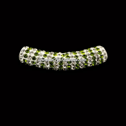 Pave Crystal Pave Tube Beads, 45mm, 4mm hole, green stripe, sold 1pcs