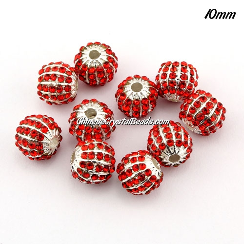 alloy pave disco beads, 10mm, 1.5mm hole, 60 crystal stone, red, sold 10 pcs
