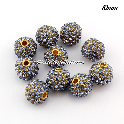 alloy pave disco beads, 10mm, 1.5mm hole, 80pcs lt-sapphire crystal stone, gold plated, sold 10 pcs
