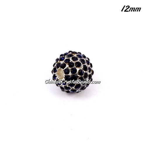 alloy pave disco beads, dark blue crystal stone, 12mm, 2mm hole, sold 9pcs