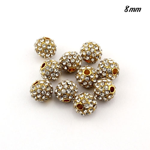 alloy pave disco beads, 8mm, 1.5mm hole, clear crystal stone, gold plated, sold 10 pcs