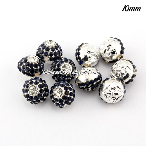 Alloy rondelle Pave disco beads, 10mm, 1.5mm hole, dark blue, sold 10pcs