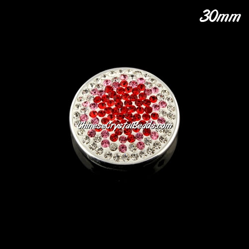 CCB bottom clay Pave round coin beads, have 2 hole, 30mm, red, 1pcs