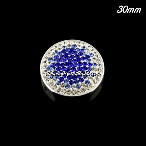 CCB bottom clay Pave round coin beads, have 2 hole, 25mm, Sapphire, 1pcs
