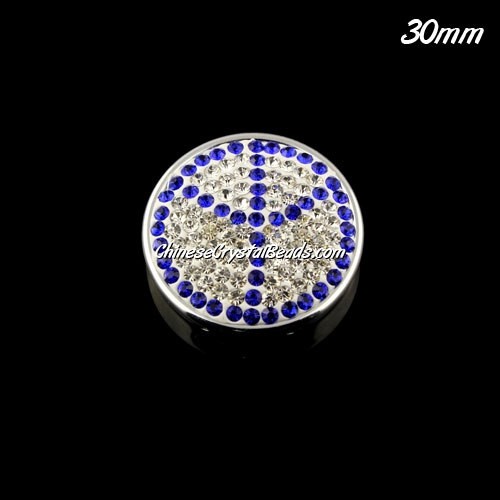 CCB bottom clay Pave round coin beads, have 2 hole, 30mm, sapphire peace, 1pcs