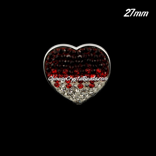 CCB bottom clay Pave heart coin beads, have 2 hole, 27mm, red, 1pcs