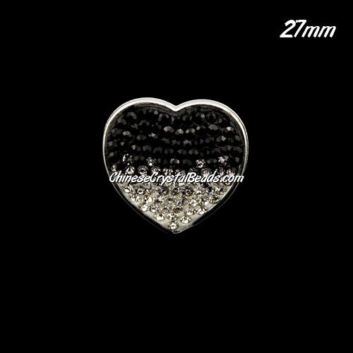 CCB bottom clay Pave heart coin beads, have 2 hole, 27mm, black, 1pcs