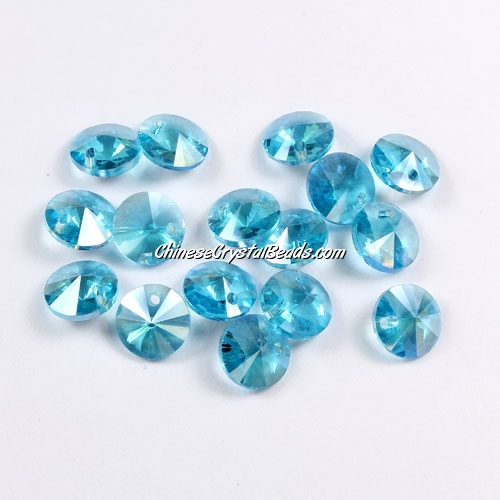 20Pcs 8mm Crystal Rivolis Beads, Crystal Satellite Drill, hole 1mm, aqua AB