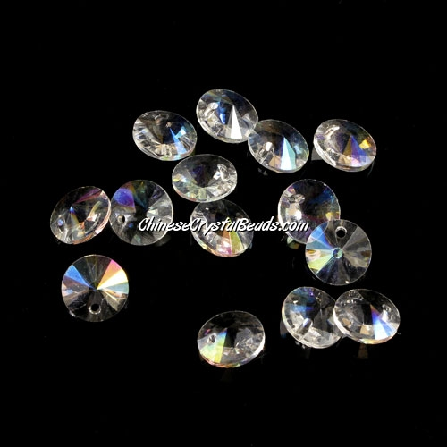 20Pcs 8mm Crystal Rivolis Beads, Crystal Satellite Drill, hole 1mm, clear AB