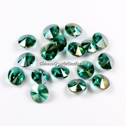 20Pcs 8mm Crystal Rivolis Beads, Crystal Satellite Drill, hole 1mm, emerald AB