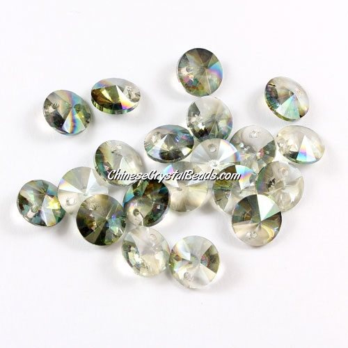 20Pcs 8mm Crystal Rivolis Beads, Crystal Satellite Drill, hole 1mm, green light