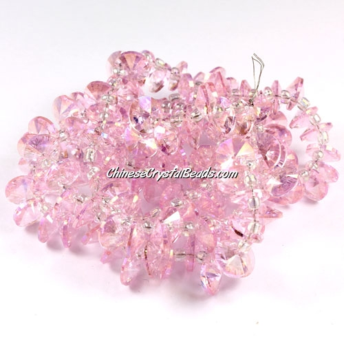 20Pcs 8mm Crystal Rivolis Beads, Crystal Satellite Drill, hole 1mm, pink AB