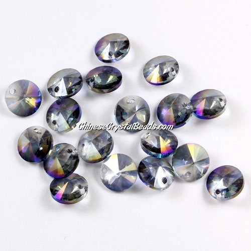 20Pcs 8mm Crystal Rivolis Beads, Crystal Satellite Drill, hole 1mm, purple light