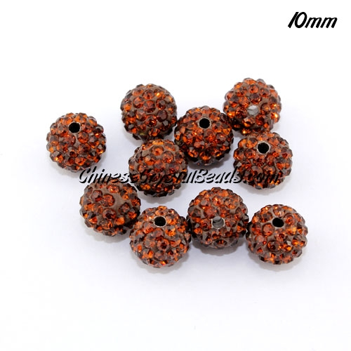 50pcs 10mm Pave (clay) disco beads, hip hop disco beads, coffee, hole: 1.5mm