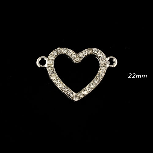 Pave heart accessories, 22x32mm, silver, sold 1pcs