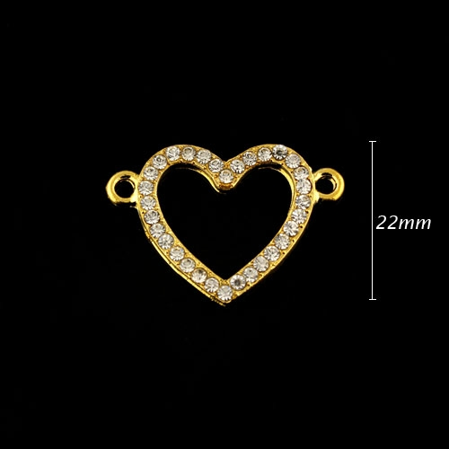 Pave heart accessories, 22x32mm, gold plated, sold 1pcs