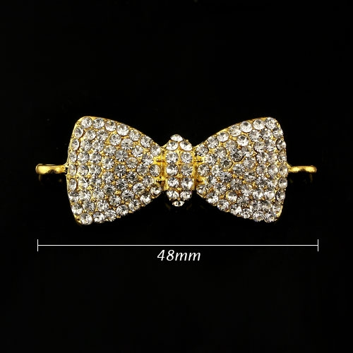 Pave bowknot accessories, 18x48mm, gold