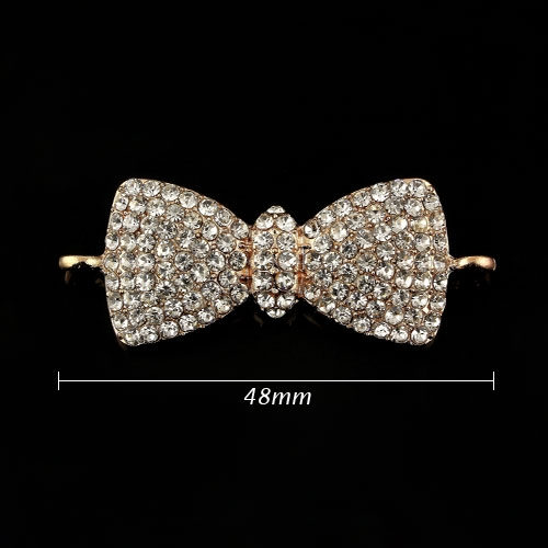 Pave bowknot accessories, 18x48mm, rose gold plated