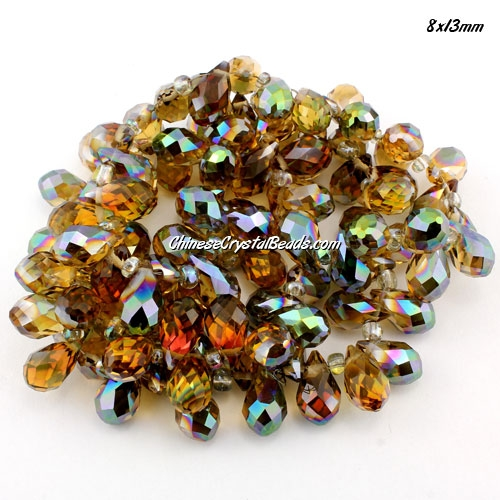 (NEW) Crystal Briolette Bead Strand, new color (9), 8x13mm, 98 beads