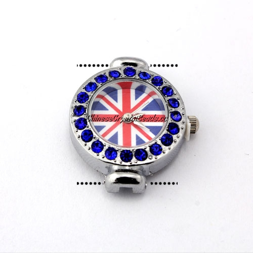 Pave watch, UK flag, sapphire crystal, 22x29mm, sold 1 pcs
