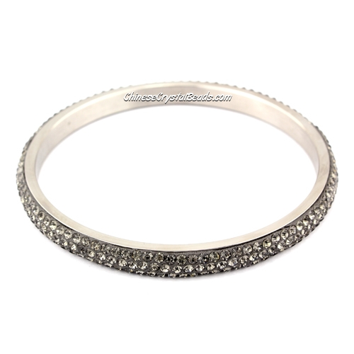 Pave gray Rhinestone Clay Based Bangle Bracelet, 6mm wide , stainless steel solid bracelet