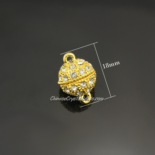 Pave Magnetic Clasps ball, 13x18mm, hole:1.5mm, gold, 10 pcs