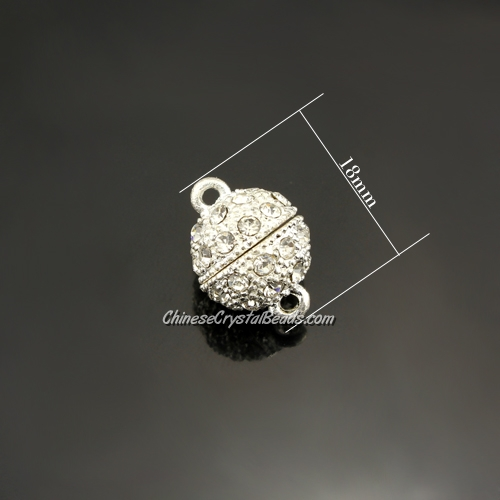 Pave Magnetic Clasps ball, 13x18mm, hole:1.5mm, silver, 1 pcs