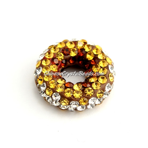 Pave Crystal Doughnut pendant, 20x7mm, 1 hole: 1.5mm, amber, 1pcs