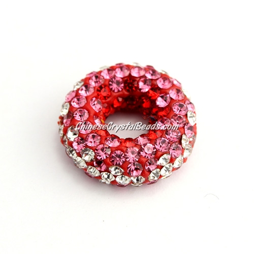 Pave Crystal Doughnut pendant, 20x7mm, 2 hole: 1.5mm, red, 1pcs