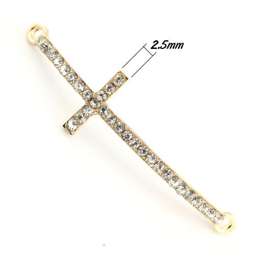 Pave cross Charms, alloy, 14x50mm, hole:2mm, gold, 1pcs