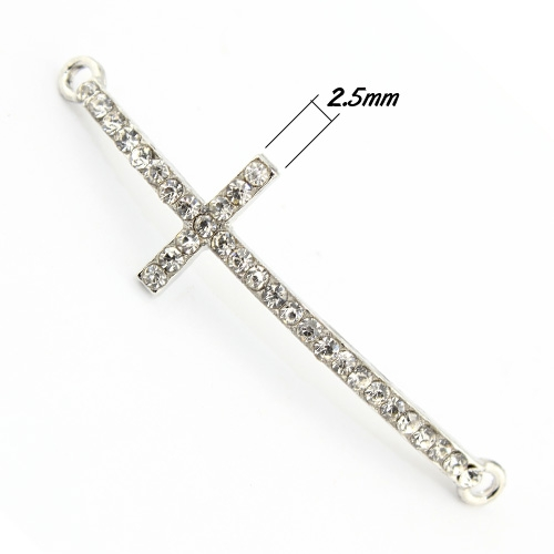 Pave cross Charms, alloy,14x50mm, hole: 2mm, silver, 1pcs