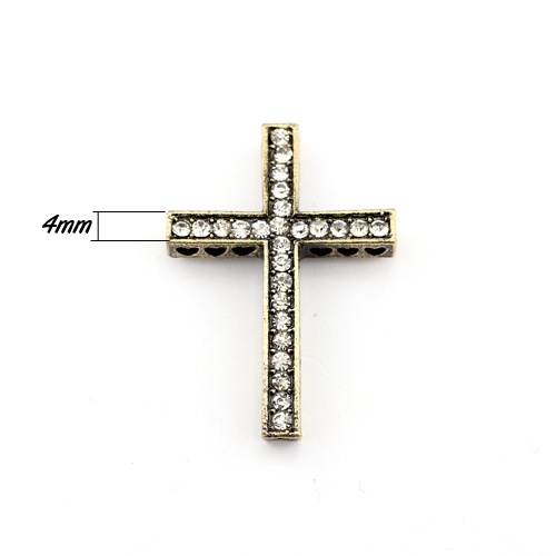 alloy Pave cross Charms, 24x35mm, hole: 1.5mm, antique bronze, 1pcs