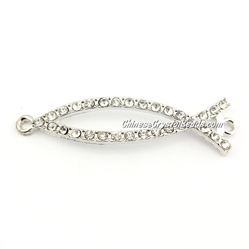 alloy Pave Fish Charms, 47mm length, platinum plated, 1pcs