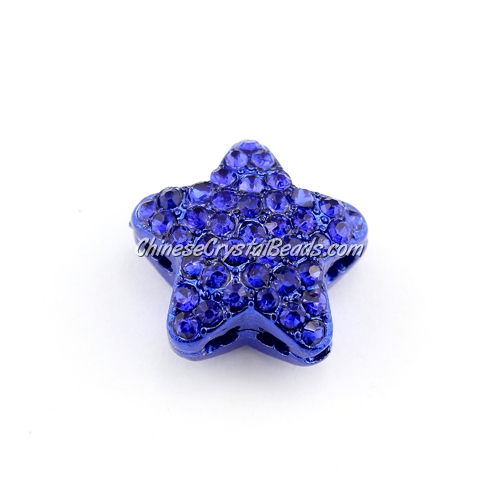 pave star cube beads, 19mm, sapphire, 1 piece