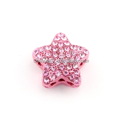 pave star cube beads, 19mm, pink, 1 piece