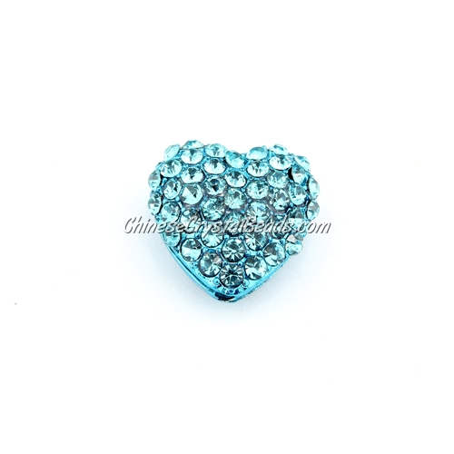 pave heart cube beads, 18mm, aqua, 1 piece