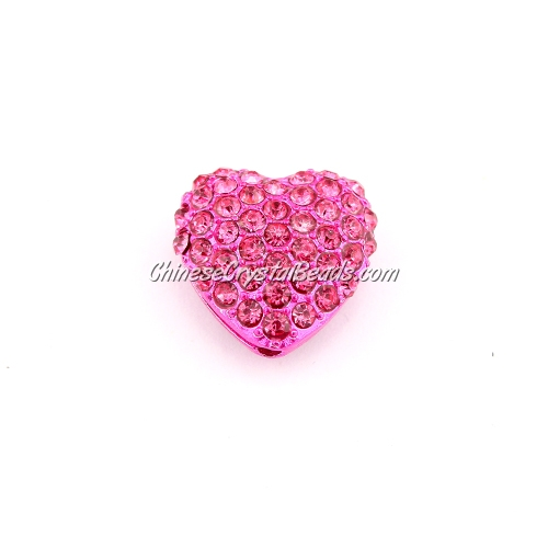 pave heart cube beads, 18mm, fuchsia, 1 piece